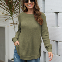 QUEVOON Casual Women Sweaters O-neck Long Sleeve Slit Hem Knitted Pullovers Fashion Winter Jumpers Lady Black Sweaters Plus Size brown cross straps front round neck slit hem knitted jumper