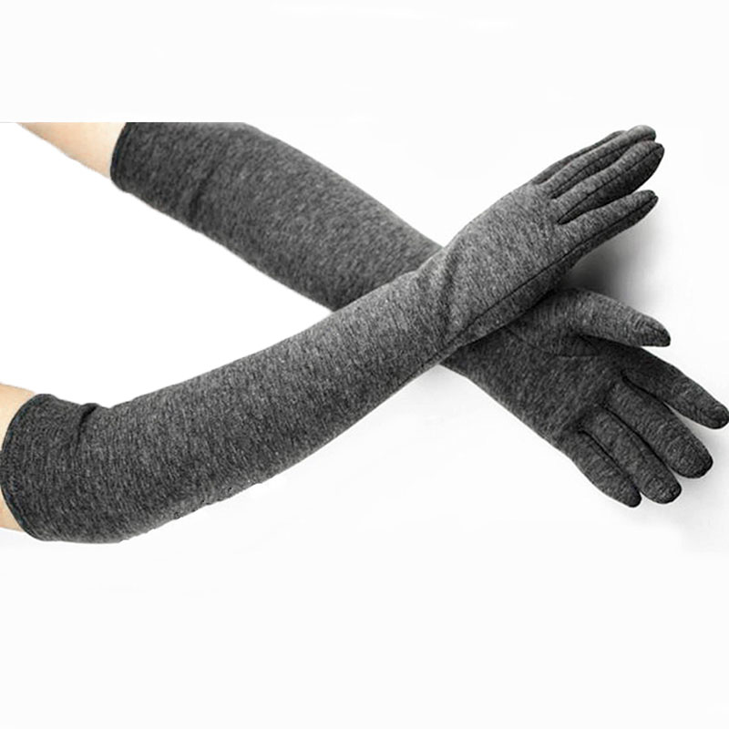 Women's Long Cotton Gloves Autumn And Winter Plus Velvet Thickened Elbow Arm Guards Riding Warm Colour Gloves