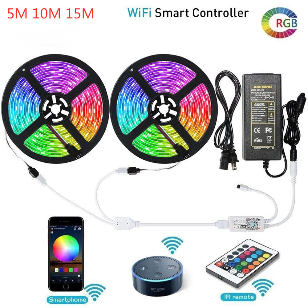 SMD 5050 RGB LED Strip Lights Smart Phone Control WiFi LED Lights DC 12V Flexible LED Tape Ribbon Sync To Music Rope Lighting