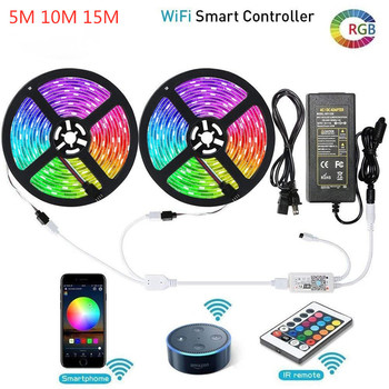 SMD 5050 RGB LED Strip Lights Smart Phone Control WiFi LED Lights DC 12V Flexible LED Tape Ribbon Sync To Music Rope Lighting