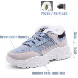 Image 2 - Buty damskie pluszowe śniegowce Faux buty zamszowe casualowe buty sportowe zimą lub jesienna koronka buty damskie WJ002