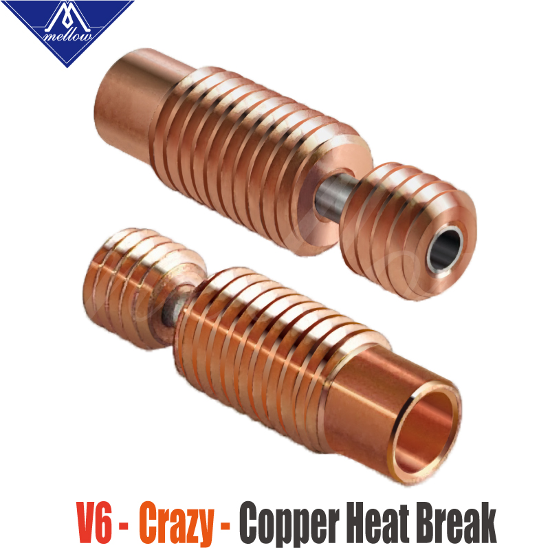 Mellow All-Metal NF V6-Crazy Heat Break Copper & Stainless Steel 3D Printer Nozzle Throat For 1.75mm E3D V6 HOTEND Heater Block