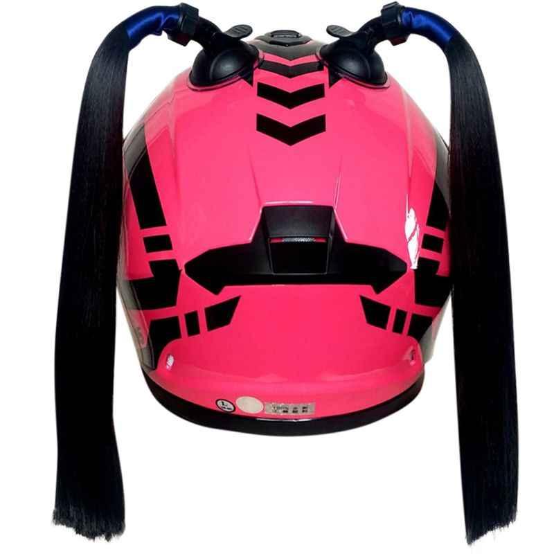 Helm Hiasan Rambut Gaya Punk Helm Kepang Twist Braid Tanduk Sepeda Motor Full Face Off Road Sepeda Motor Helm Braid