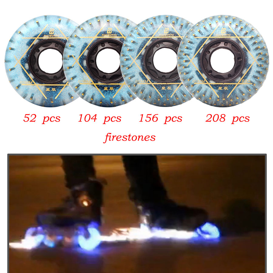 8Pcs Star LED Flash Lighting Inline Skates Firestones Wheels 88A 72 76 80mm Roller Skating Tires For Slalom Sliding SEBA Patines