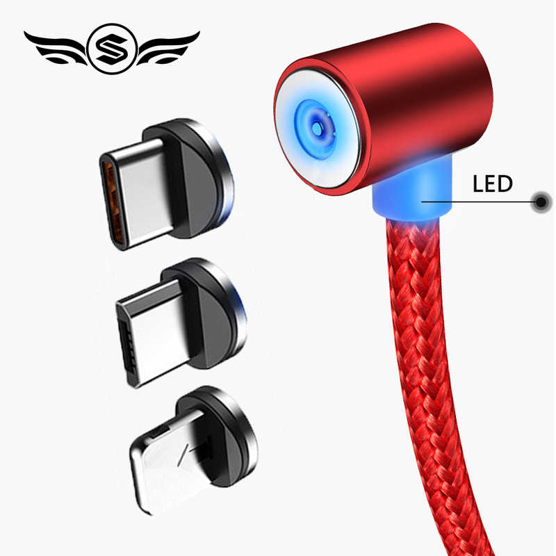 سريع شحن L-خط المغناطيسي كابل شحن ، 90 مصباح إضاءة متدرج كابل ل فون X 8 7 6 زائد و المصغّر USB كابل و USB نوع-C USB C