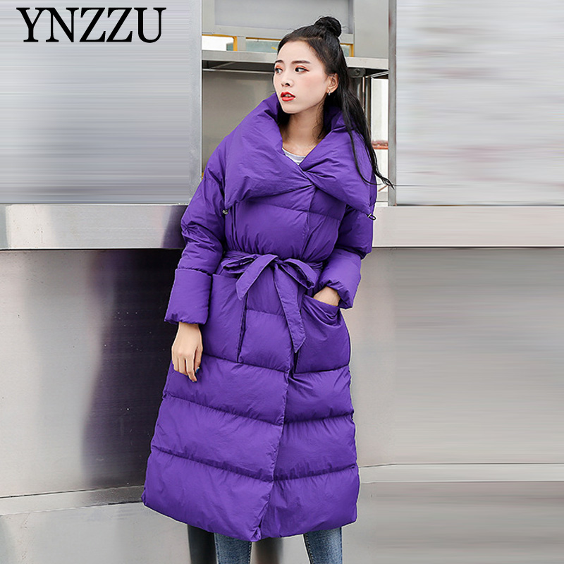 Turn down collar Women parkas 2019 Winter Purple Thick warm Sustans coats jacket Lace up Loose Chic Female Overcoat YNNZU 9O045