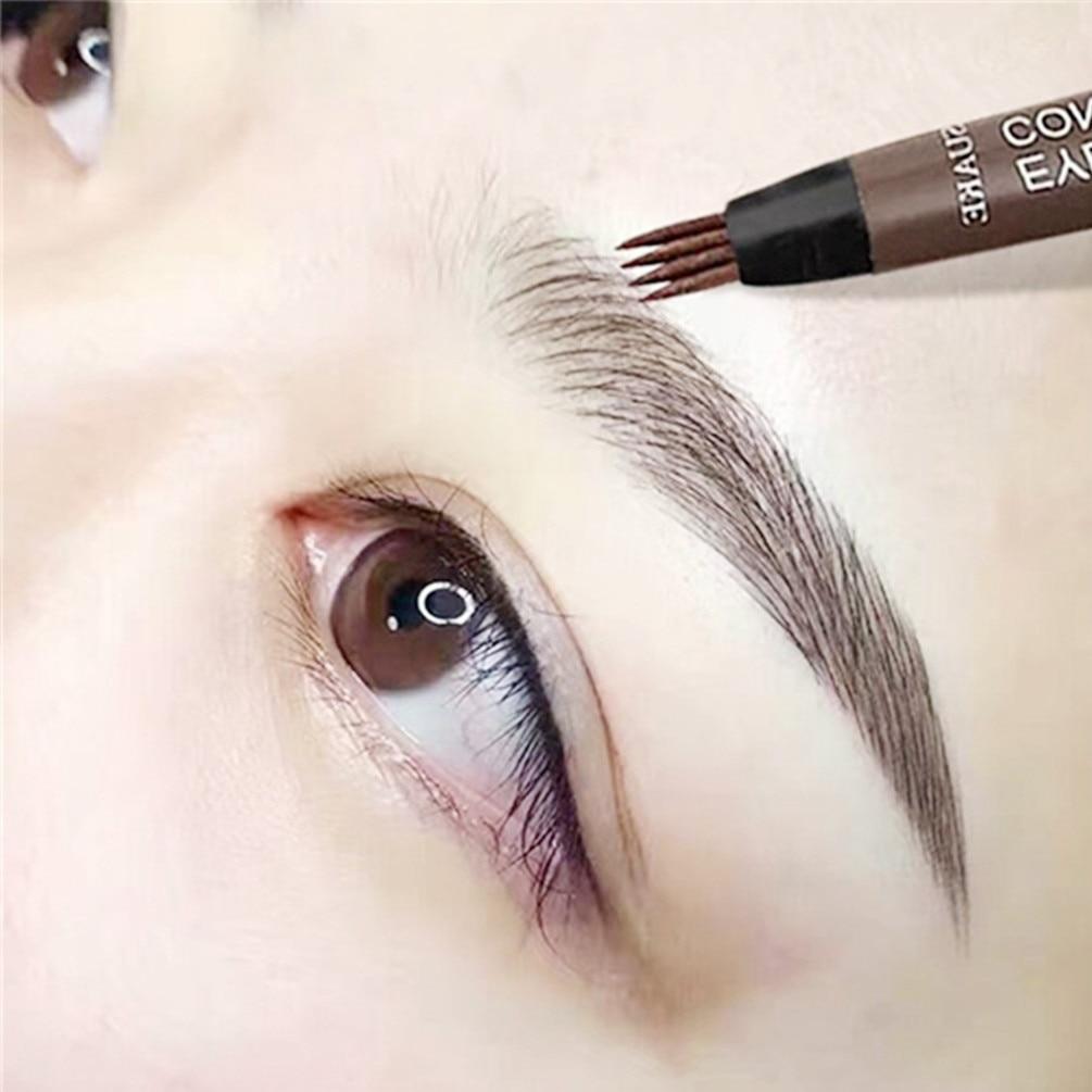 4 Fork Makeup Eyebrow Pen Waterproof 4D Brown Eyebrow Tint Tattoo Cosmetic Long Lasting Natural Make Up Eye Brow Pencil