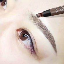 4 Fork Makeup Eyebrow Pen Waterproof 4D Brown Eyebrow Tint Tattoo Cosmetic Long Lasting Natural Make Up Eye Brow Pencil