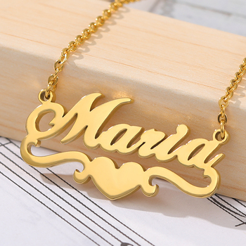 Personalized Name Custom Necklace Heart Ribbon Nameplate Pendant Rose Choker Necklace For Women Stainless Steel BFF Jewelry Gift long blue ribbon choker necklace
