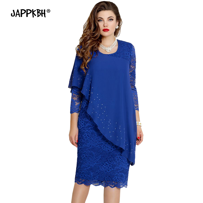 Spring <font><b>Dress</b></font> Women 2020 Casual Plus Size Slim Patchwork Chiffon Office <font><b>Pencil</b></font> <font><b>Dresses</b></font> <font><b>Elegant</b></font> <font><b>Sexy</b></font> Hollow Out <font><b>Lace</b></font> <font><b>Party</b></font> <font><b>Dress</b></font> image
