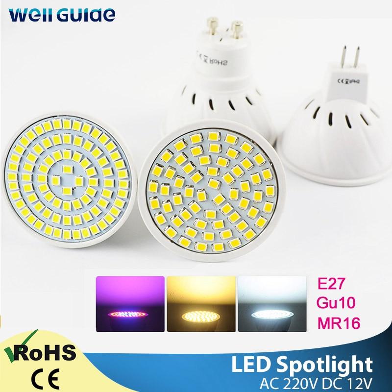 Светодиодный точечный светильник GU10 MR16 E27, 6 Вт, 3 Вт, 8 Вт, 220 В, 12 В, Светодиодный точечный светильник, холодный и теплый белый