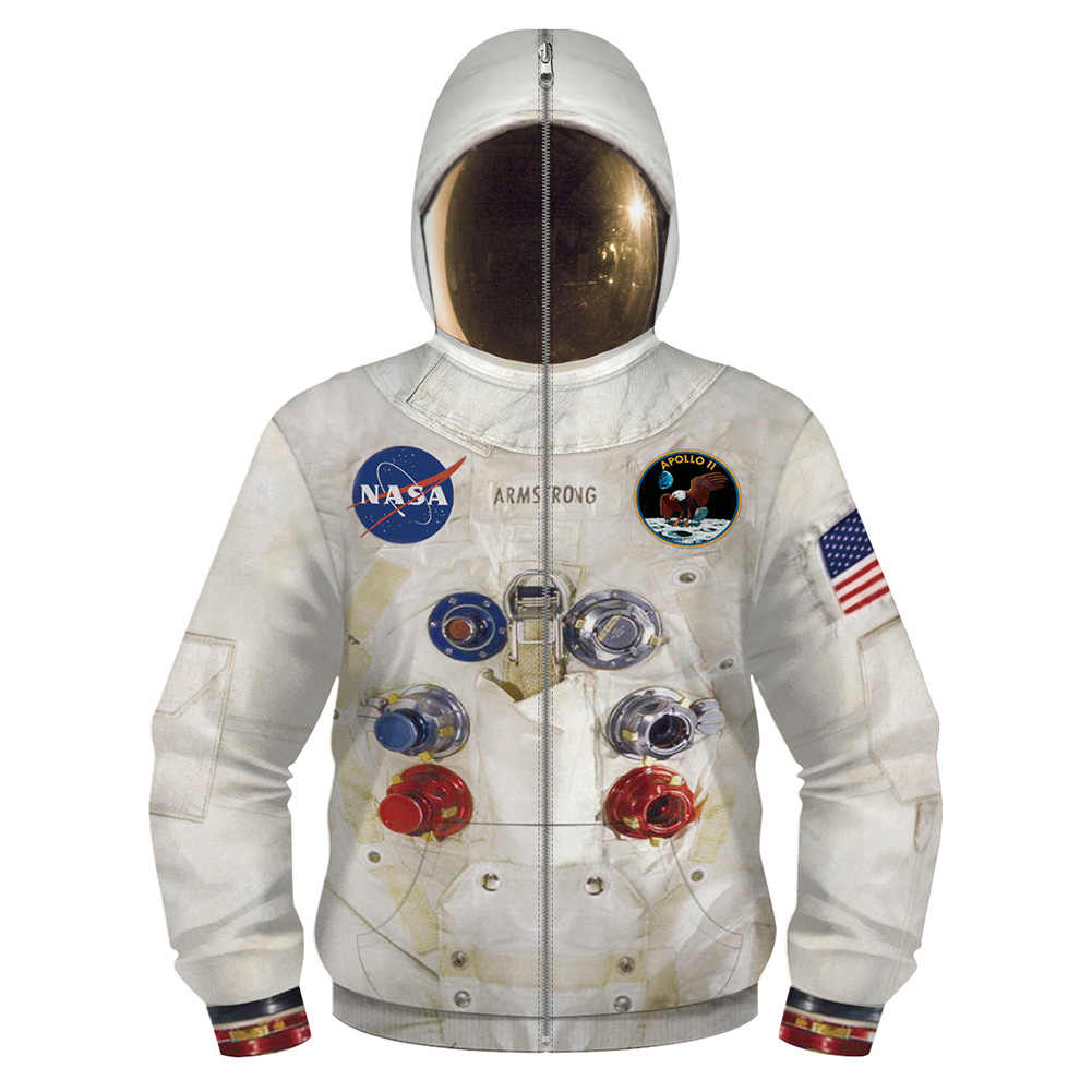 Kids Astronaut Hoodie Space Pak Cosplay Kostuum 3D Print Zip Up Sweater Spacesuit Jas Tops Kinderen