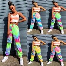 Neon tie dye spodnie lady wysokiej talii długie workowate spodnie damskie spodnie dresowe luźne 2020 letnia odzież streetwear na jesień i zimę ubrania