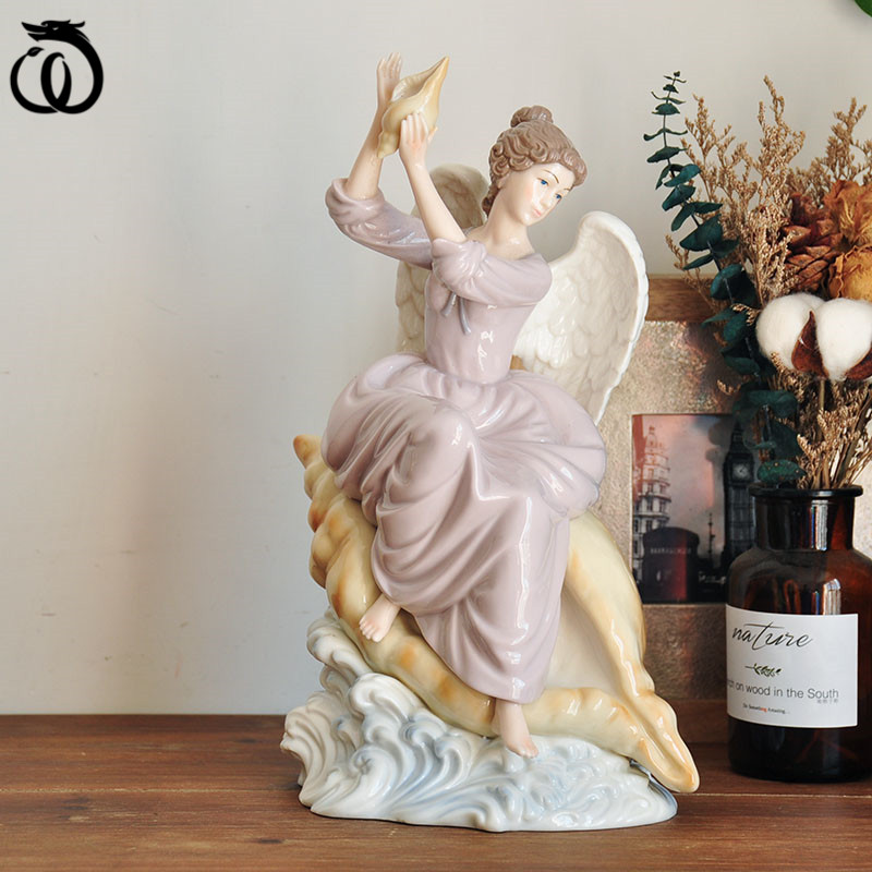 American Conch Angel Girl Art Sculpture Painting Beauty Lady Statue Ceramic Craft Home Decoration Collecting Living Room R6140
