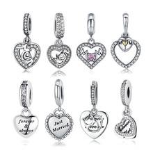 BISAER Authentic 925 Sterling Silver Knot Heart Charm Fit Original  Bracelet amp Necklace DIY Accessories  цена 2017