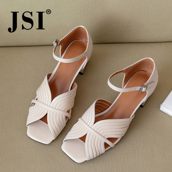 JSI Paisley Pattern Women Sandals High Quality Cow Leather Fashion Office Ankle Buckle Strap Shoes Mature Concise Sandals JO477