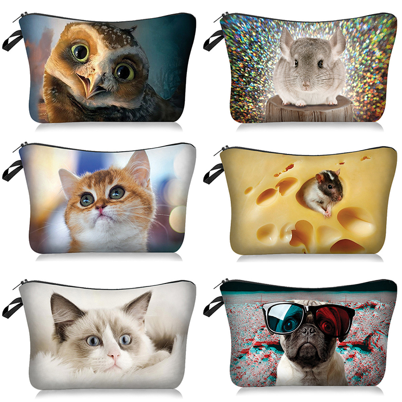 Cute Dog Cat 3D Printed Cosmetic Bags Cute Animals Pug Women Makeup bags Organizer Necessaries for Travelling Cosmetic Cases