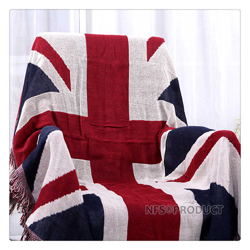130x180cm Sofa Blanket Cotton Fabric UK & USA Flag Design Knitted Bed Spread Couch Covering Quilt Throws With Tassels 3