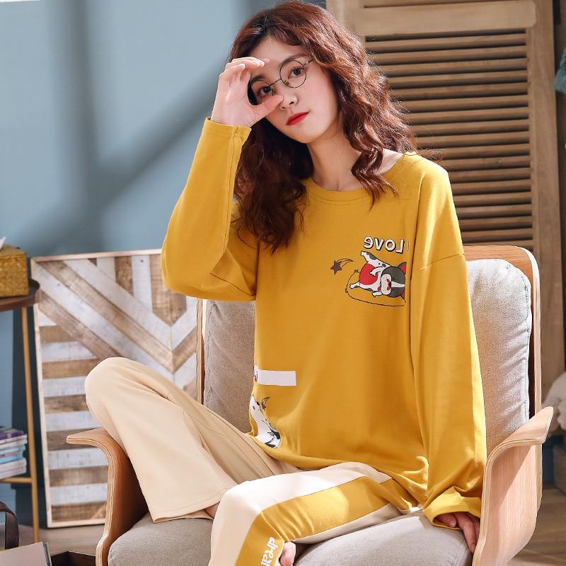 Pijama Feminino Summer Women 100% Full Cotton Sleepwear Sets Cartoon Lady Nightwear Women's Round Neck Homewear Loungewear Suit