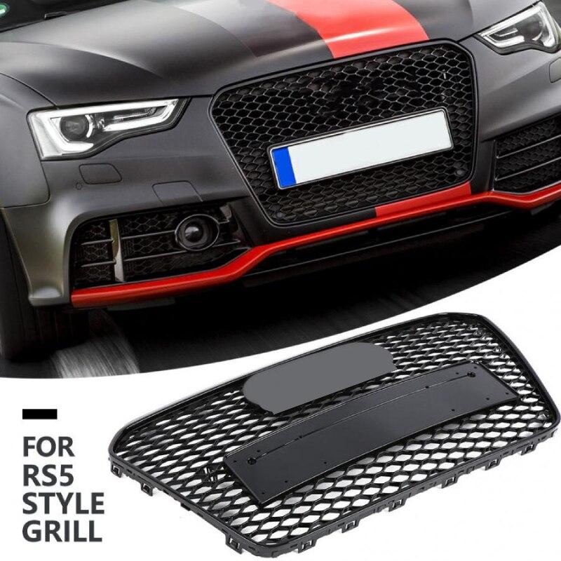 Per RS5 Stile Anteriore Sport Esagonale Maglia A Nido D'ape Hood Grill Gloss Nero per Audi A5/S5 B8.5 2012 2013 2014 2015 2016