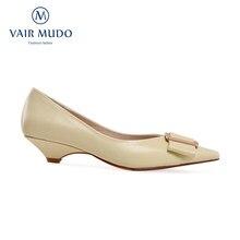 Vair mudo moda feminina bombas sapatos primavera outono elegant mary janes couro genuíno costura apontou dedo do pé escritório & carreira d182l