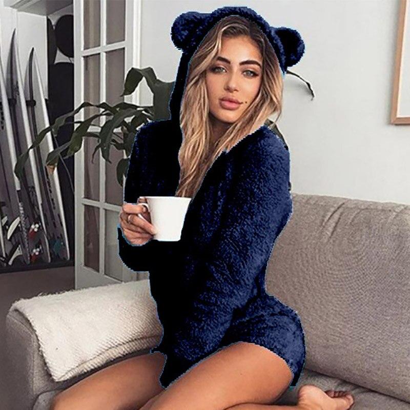 5XL Women Jumpsuits Fleece Pajama Bear Ear Hooded Bodysuit Shorts Winter Warm Tracksuit Streetwear One-piece Sleepwear Plus Size 13
