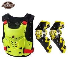 SCOYCO Motorcycle Jacket Motorcycle Chest Protector Body Armor Motocross Off-Road Racing Vest+Motorcycle Knee Protector