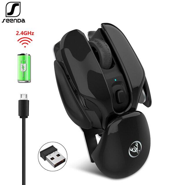 SeenDa перезаряжаемая беспроводная мышь бесшумный щелчок дизайн USB беспроводная мышь для ноутбука ноутбук Настольный 1600 точек/дюйм регулируемый