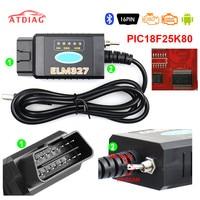 ELM327 USB V1.5 FTDI FT232RL + PIC18F25K80 Chip lector de código para Ford HS puede/MS puede ELM 327 Bluetooth OBD2 herramienta de diagnóstico