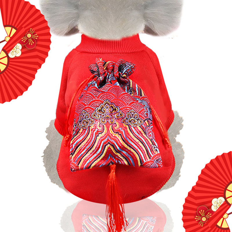 PUOUPUOU Solid Dog Clothes Winter Pet Dog Clothes Warm Clothing Sweatshirt For Small Medium Dogs Puppy Chinese Style XS-2XL