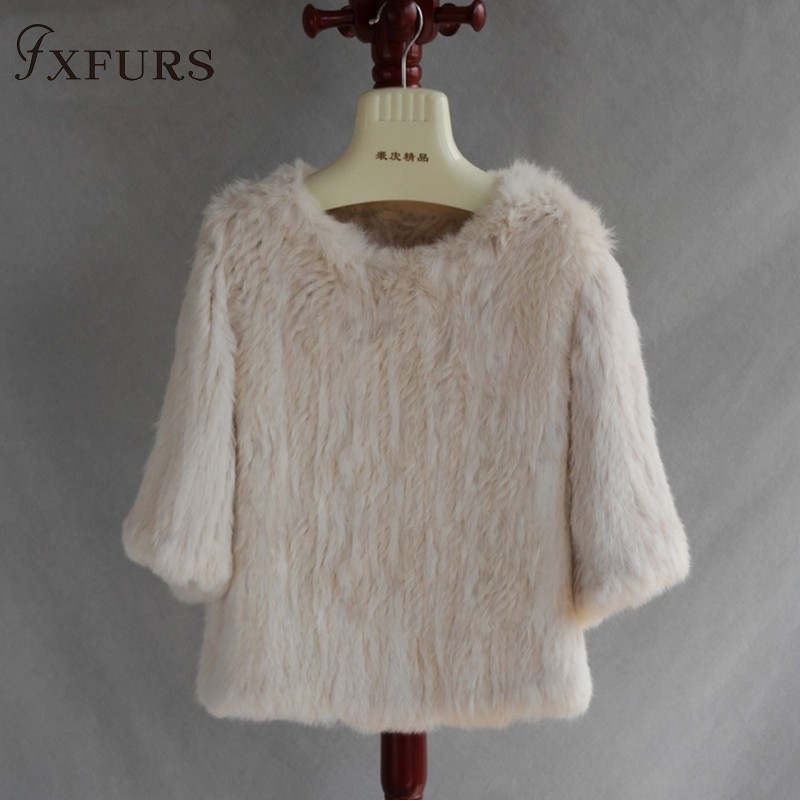 FXFURS 2019 Luxury Knitted Rabbit Fur Coat Women Genuine Rabbit Fur Jacket Fur Waistcoat Rabbit Fur Pullover Girl 9 Colors