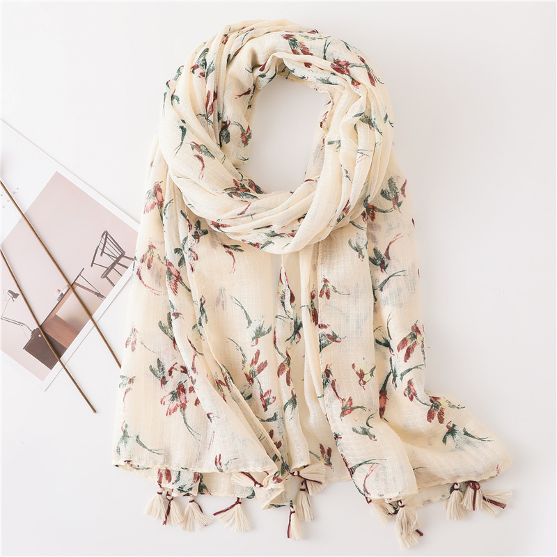 Sun Protection Shawl Female Scarf Floral Print Swallow Air-conditioning Travel Scarf Beach Towel Sarong Wraps