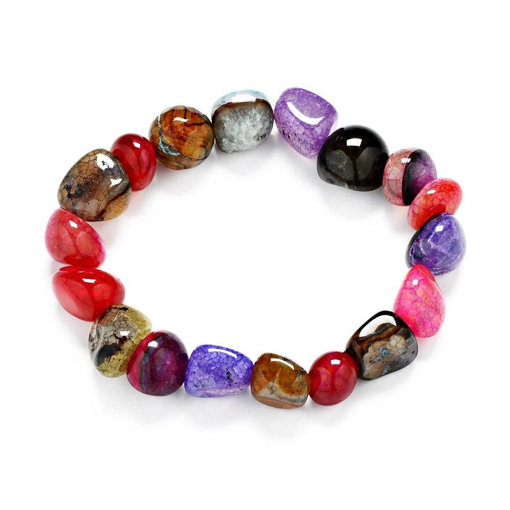 Случайный ледяной трещин, нерегулярный натуральный драгоценный камень 11-12 с формой смешанных цветов браслет для женщин
