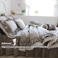 Gray Lotus Leaf Craft Pure Cotton Princess Bedding Article Four piece of Bed Skirt TOP Sweet Plaid Ruffle Duvet Cover Bedding