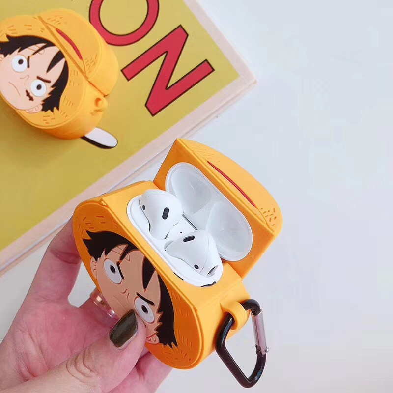 Image 4 - For AirPods Apple Case 3D Cartoon One Piece Headphone Cases For Airpods 1 2 Silicone Case Accessories Protector Cover Keychain-in Earphone Accessories from Consumer Electronics