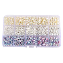 DIY Handmade Beaded AB Color Imitation Pearls Beads Jewelry Making 15 Grids Mixed Acrylic Beads Pearl Gift for Girl 4mm to 10mm