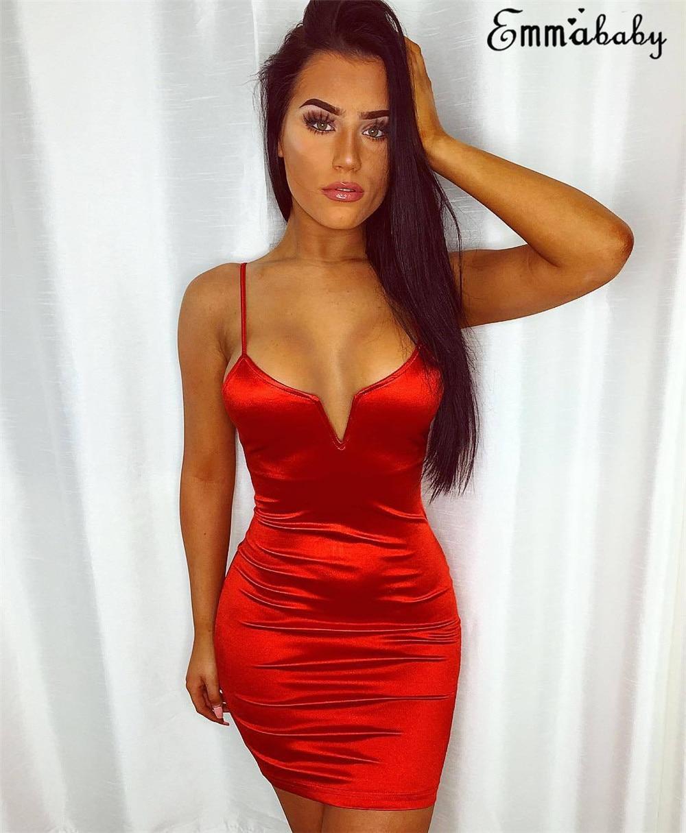 Sexy Red Dress Short Female Sleeveless V-neck Bodycon Spaghetti Strap Mini Dresses Woman Party Night Summer Dress