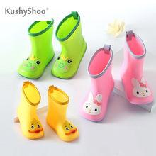 KushyShoo klasyczne dziecięce buty guma PVC dziecięce dziecięce buty z obrazkami buty do wody wodoodporne kalosze maluch dziewczyna Rainboots