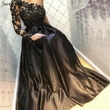 Мусульманские черные длинные рукава вечерние платья расшитые кристаллами с круглым вырезом ручной работы Цветы вечерние платья Serene Hill LA70007