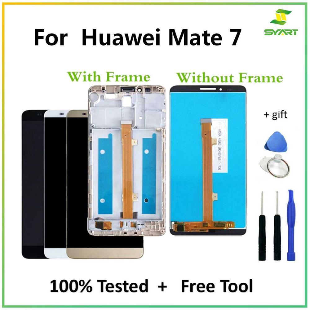 """Где купить 6,0 """"ЖК-дисплей для Huawei Mate 7 LCDs, кодирующий преобразователь сенсорного экрана в сборе, Замена + инструменты для Mate7 MT7-L09"""