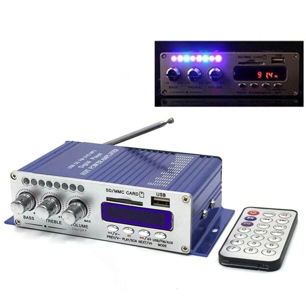 Bluetooth Car Power Amplifier Stereo HiFi 2 Channel Mini FM Audio MP3 Speaker Music Player