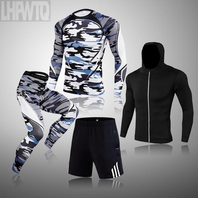 Men Thermal Underwear Winter Long Johns 4 Piece Sports Suit Men's Compression Leggings Quick Dry T-shirt Long Sleeve Jogging Set 4