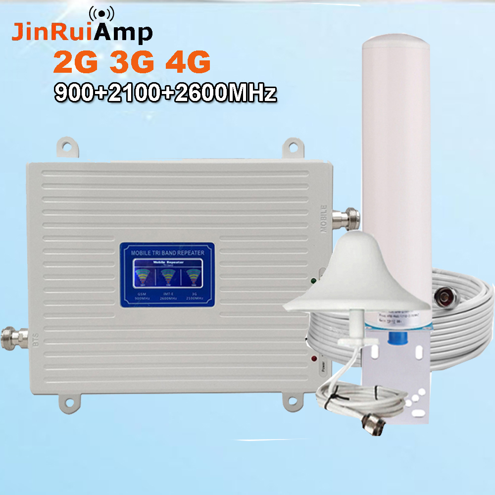 Tri Band Repeater Gsm 2G 3G 4G 900 2100 2600 GSM WCDMA LTE 2600 Cellular Signal Booster GSM 3G 4G Repeater Cell Phone Amplifier
