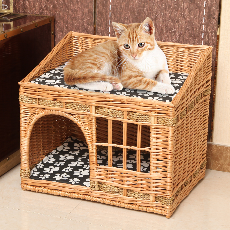 handmade <font><b>Cat</b></font> <font><b>bed</b></font> <font><b>house</b></font> in summer pet rattan villa home durable pet sleeping <font><b>bed</b></font> Breathable at kennel dropshipping image