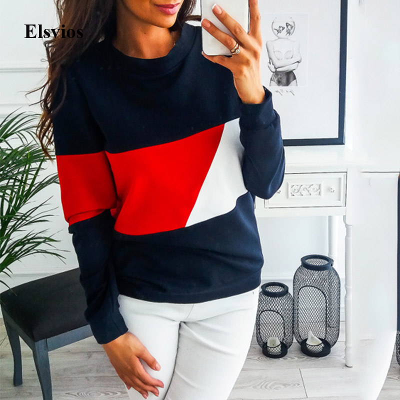 Elsvios Women Patchwork Hoodies Sweatshirt Autumn Winter Long Sleeve Sweatshirt Casual Femme O-Neck Pullover Tops Streetwear XXL