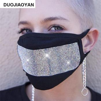 Fashion Star Mask Rhinestones Glitter Face Masks Unisex Washable Breathable Mouth Mask Beauty Worker Tools Makeup Tools
