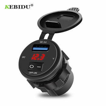 KEBIDU Quick Charge 3.0 USB Car Charger Socket Digital Display Voltmeter USB Charger Socket with ON-OFF Switch for Motorcycle 1