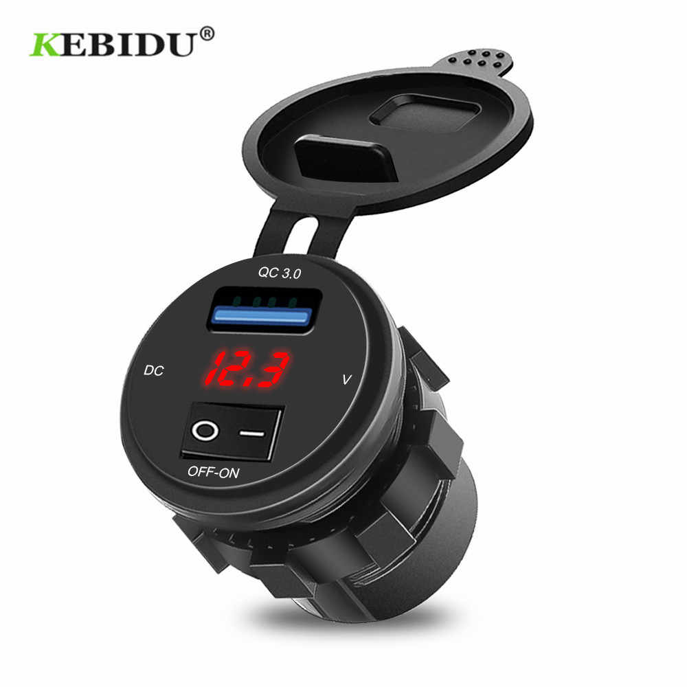 Kebidu Quick Charge 3.0 Usb Car Charger Socket Digitale Display Voltmeter Usb Charger Socket Met Aan-uit Schakelaar Voor motorfiets