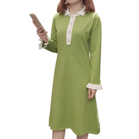 2019 New Autumn Women dress Knitting Slim Fat Mm Fertilizer Increased Meat Sweater Render Dresses Black Avocado Green 1016