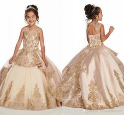 Пышные платья цвета шампанского для девочек; Новинка 2020 г.; длинное платье с рюшами и аппликацией из бисера и кристаллов для малышей; платье ...